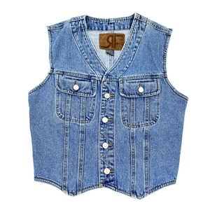 Vtg 90s Rafaella Retro Denim Stone Wash Vest